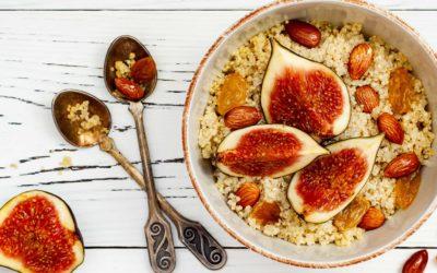 Amaranth en quinoa met vijg, amandel en honing