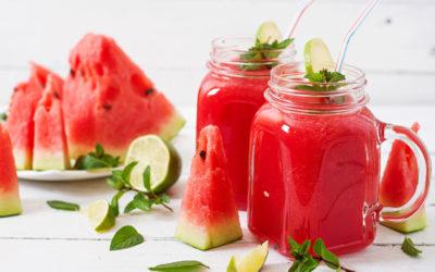 Smoothie watermeloen met limoen en verse munt