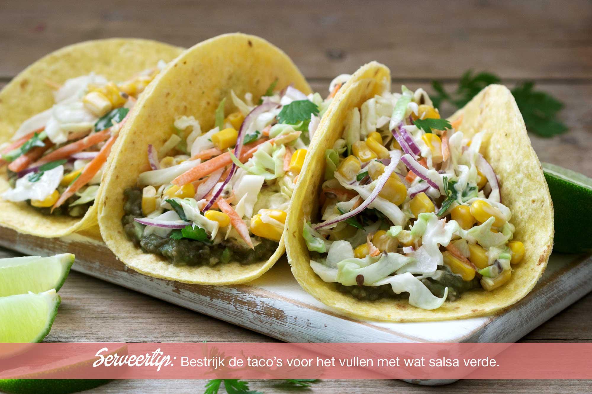 Recept biologische taco gevuld met mais wortel salade | Bedrijfscatering | De Groene Artisanen