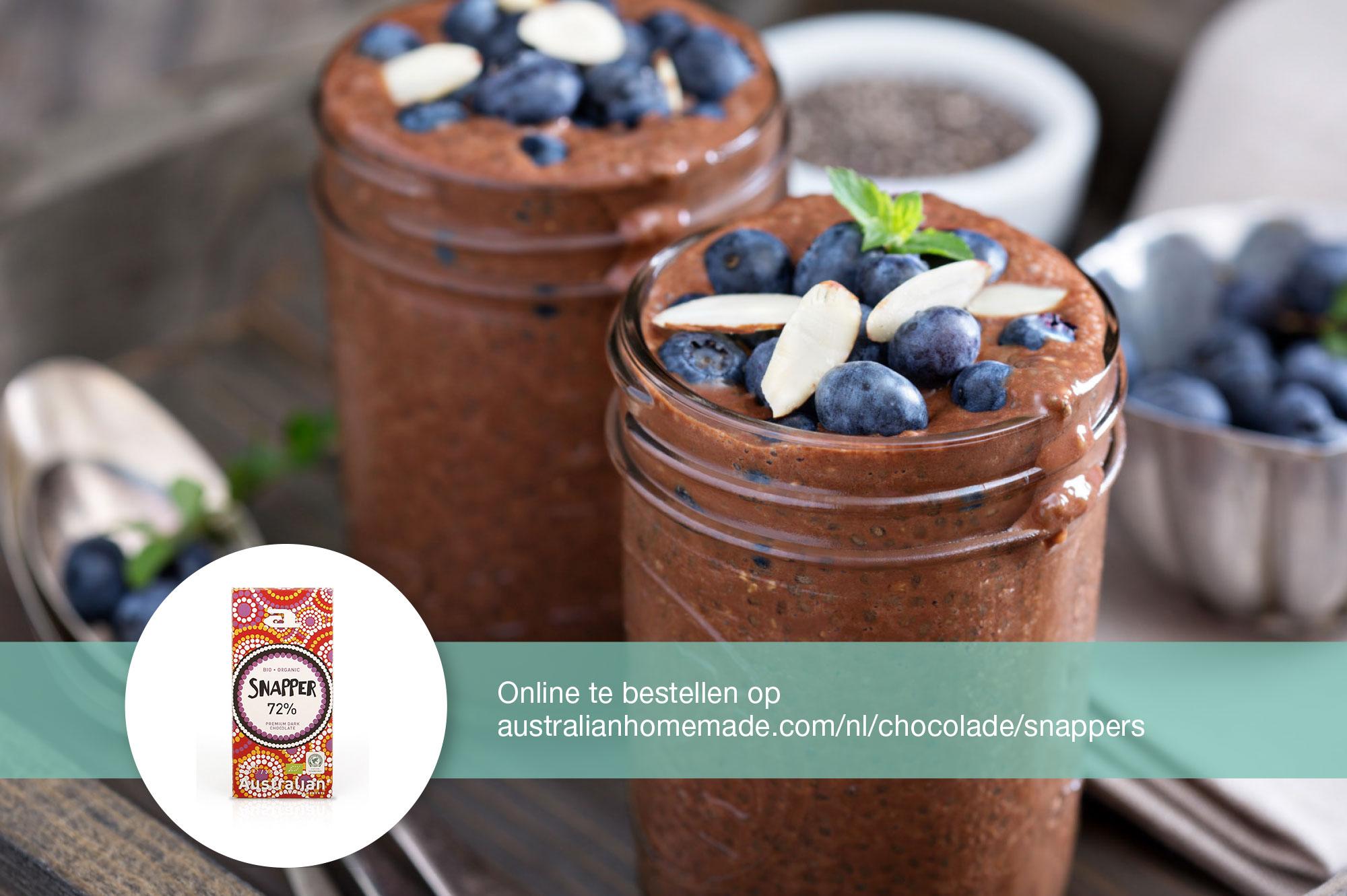 Recept chocolademousse blauwe bessen amandel | Bedrijfscatering | De Groene Artisanen