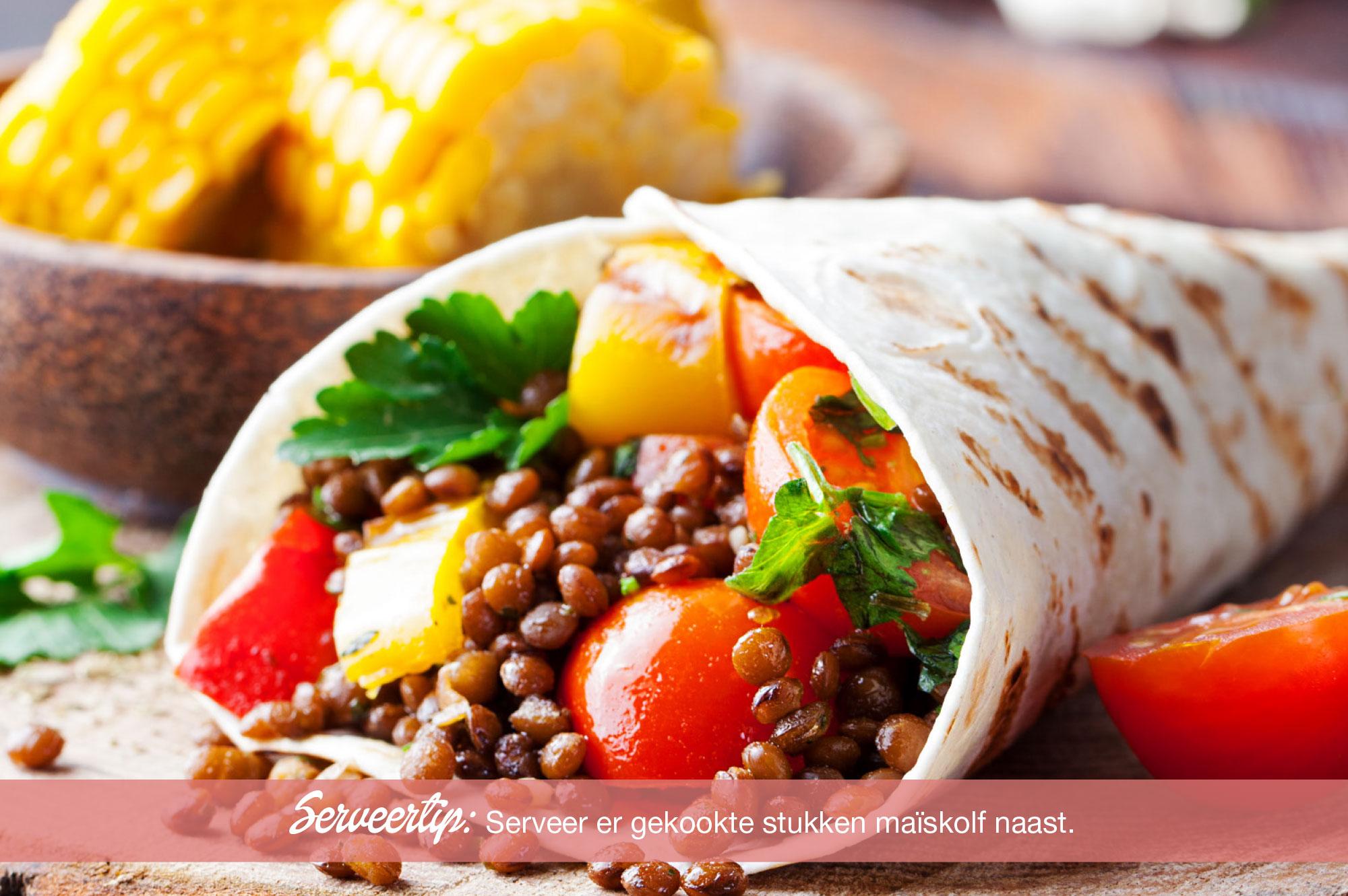 Recept tortilla met linzen paprika tomaat en koriander | Bedrijfscatering | De Groene Artisanen