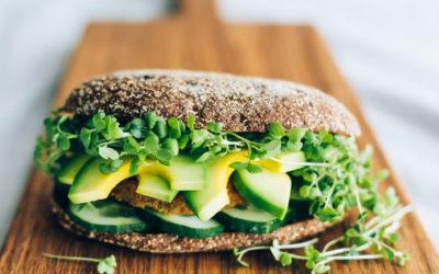 Groenteburger met avocado, komkommer en tuinkers