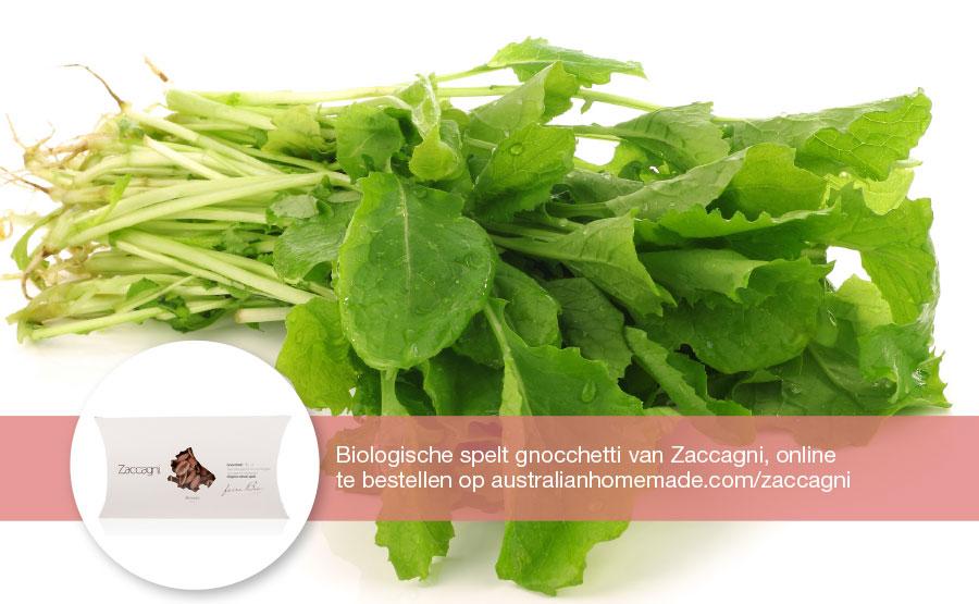 Lunch recept raapstelen met gnocchetti en verse groene pesto | DGA | Groene Bedrijfscatering