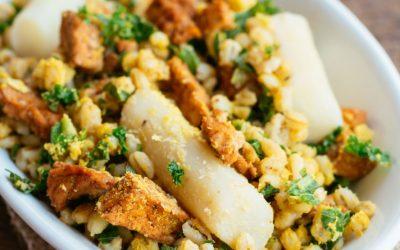 Schorseneren met parelgort, boerenkool  en tofu