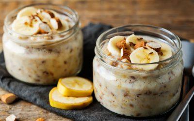 Overnight oats met banaan en amandel