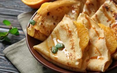 Sinaasappel pannenkoekjes met ahorn siroop