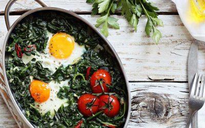 Spinazie met ei uit de oven